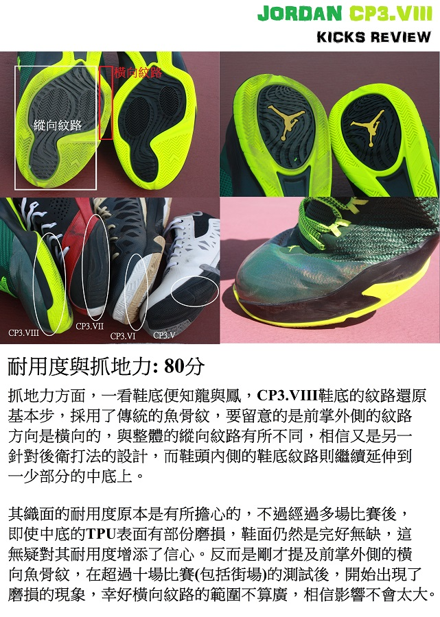 Sole agent Alex kicks review - Jordan CP3.VIII - 5 耐用度與抓地力